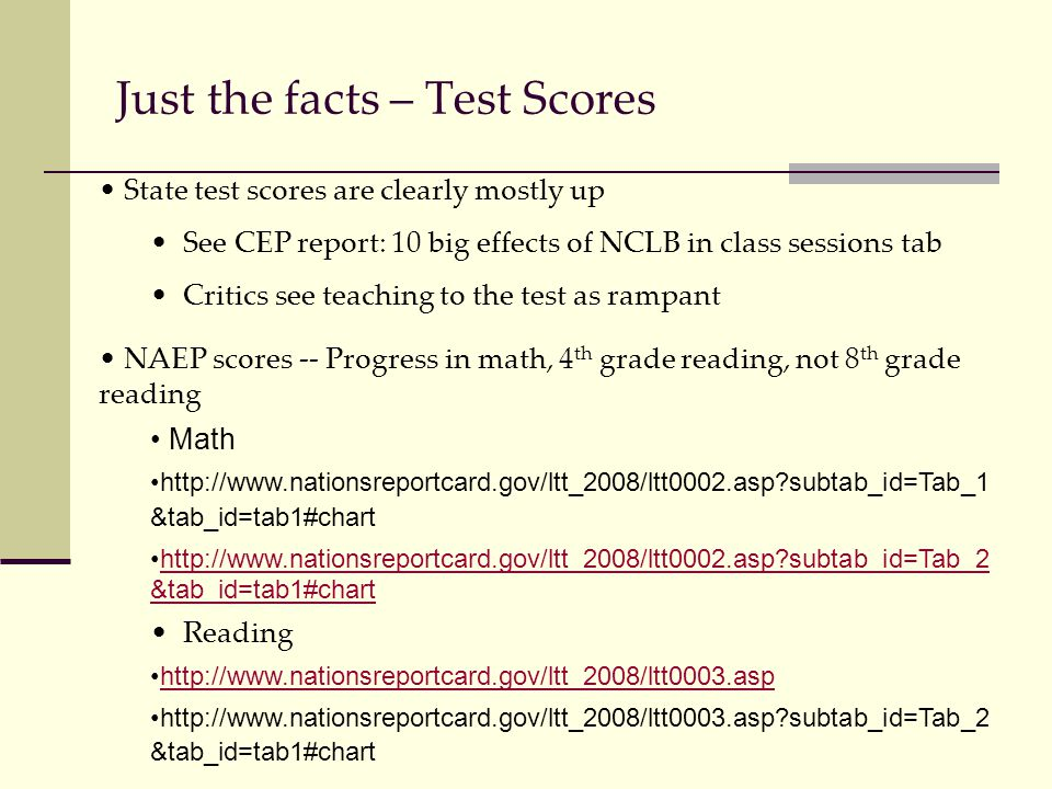 Just the facts – Test Scores State test scores are clearly mostly up See CEP report: 10 big effects of NCLB in class sessions tab Critics see teaching to the test as rampant NAEP scores -- Progress in math, 4 th grade reading, not 8 th grade reading Math http://www.nationsreportcard.gov/ltt_2008/ltt0002.asp subtab_id=Tab_1 &tab_id=tab1#chart http://www.nationsreportcard.gov/ltt_2008/ltt0002.asp subtab_id=Tab_2 &tab_id=tab1#charthttp://www.nationsreportcard.gov/ltt_2008/ltt0002.asp subtab_id=Tab_2 &tab_id=tab1#chart Reading http://www.nationsreportcard.gov/ltt_2008/ltt0003.asp http://www.nationsreportcard.gov/ltt_2008/ltt0003.asp subtab_id=Tab_2 &tab_id=tab1#chart