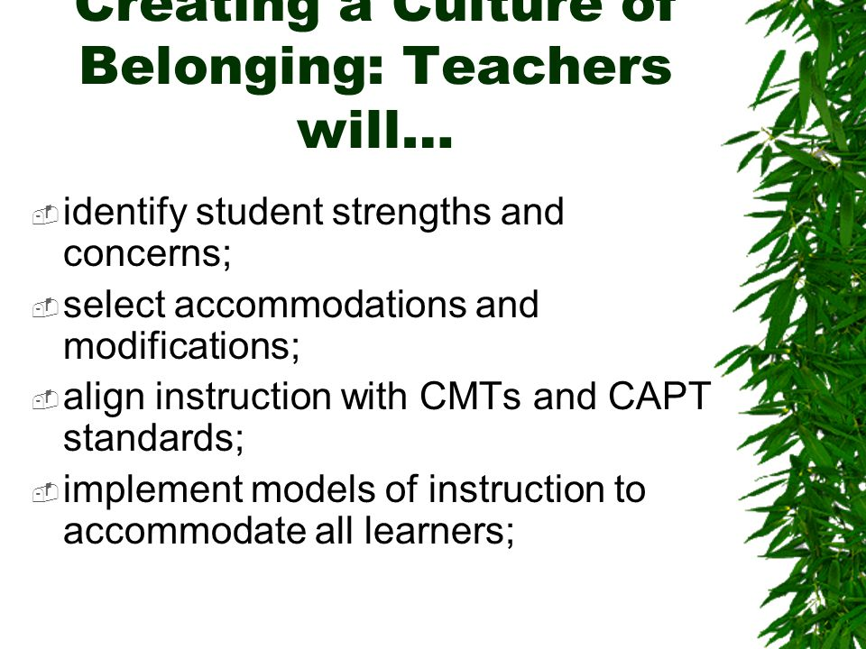 Creating a Culture of Belonging: Teachers will…  identify student strengths and concerns;  select accommodations and modifications;  align instruction with CMTs and CAPT standards;  implement models of instruction to accommodate all learners;