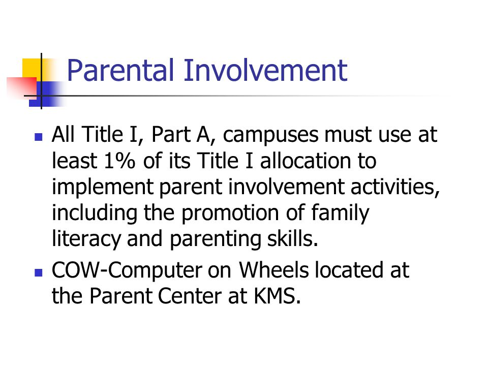 All Title I, Part A, campuses must use at least 1% of its Title I allocation to implement parent involvement activities, including the promotion of family literacy and parenting skills.