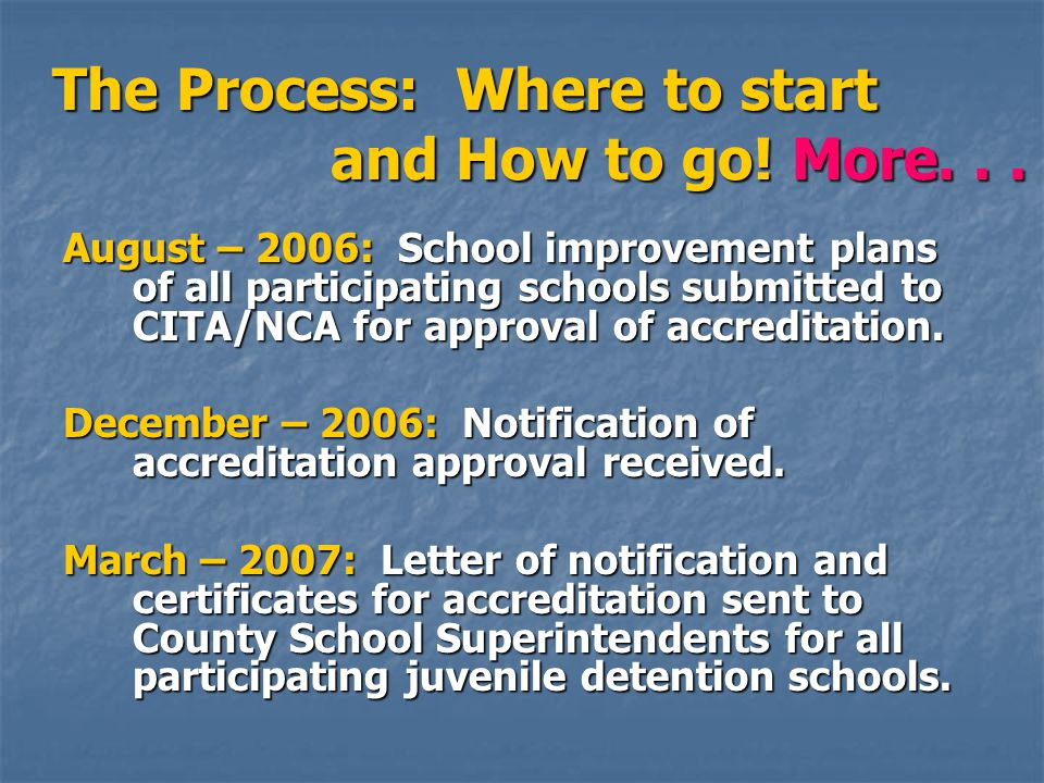 August – 2006: School improvement plans of all participating schools submitted to CITA/NCA for approval of accreditation. December – 2006: Notificatio