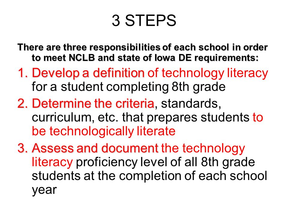 3 STEPS There are three responsibilities of each school in order to meet NCLB and state of Iowa DE requirements: 1.Develop a definition 1.Develop a definition of technology literacy for a student completing 8th grade 2.Determine the criteria 2.Determine the criteria, standards, curriculum, etc.