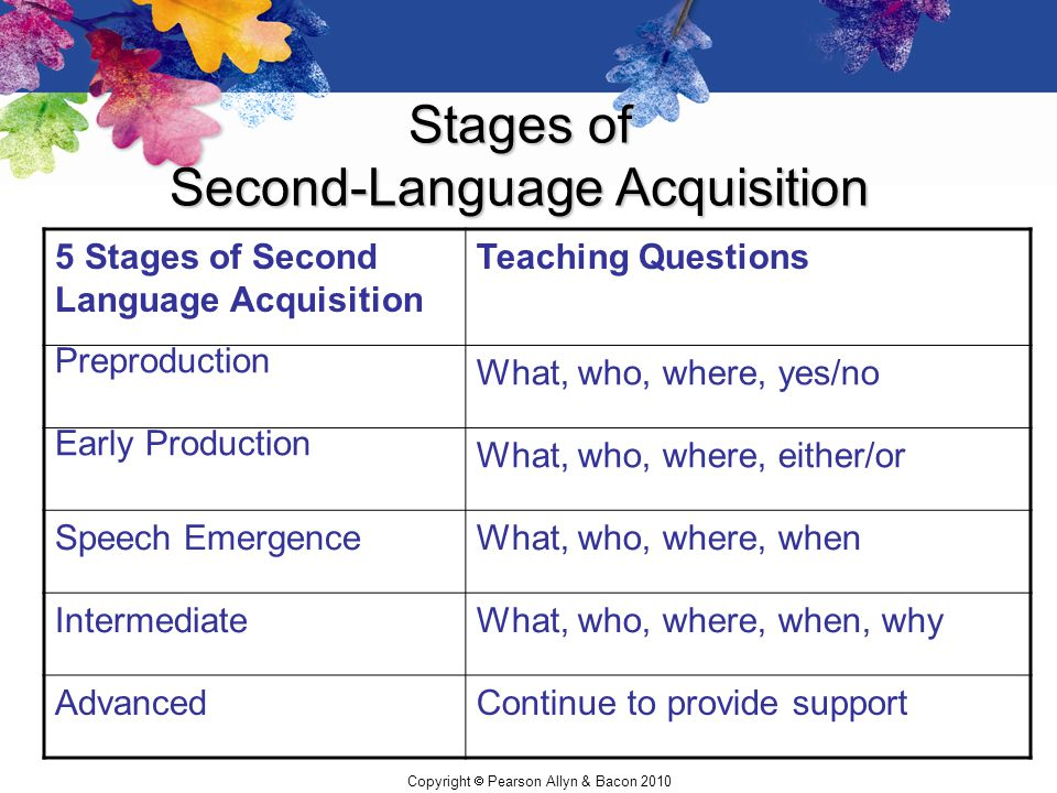 Copyright  Pearson Allyn & Bacon 2010 Stages of Second-Language Acquisition 5 Stages of Second Language Acquisition Teaching Questions Preproduction