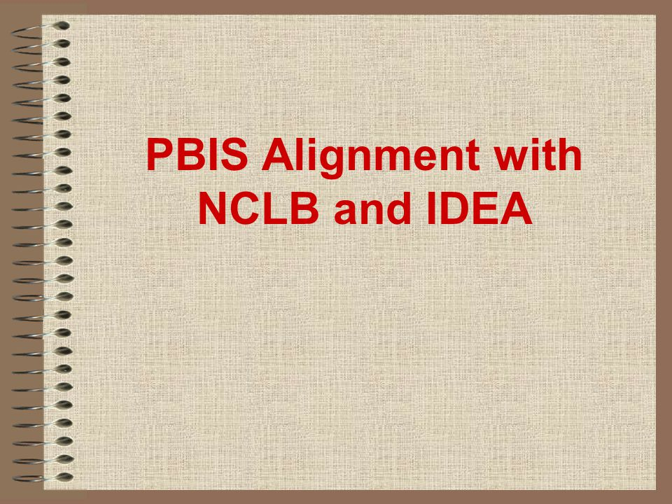 PBIS Alignment with NCLB and IDEA
