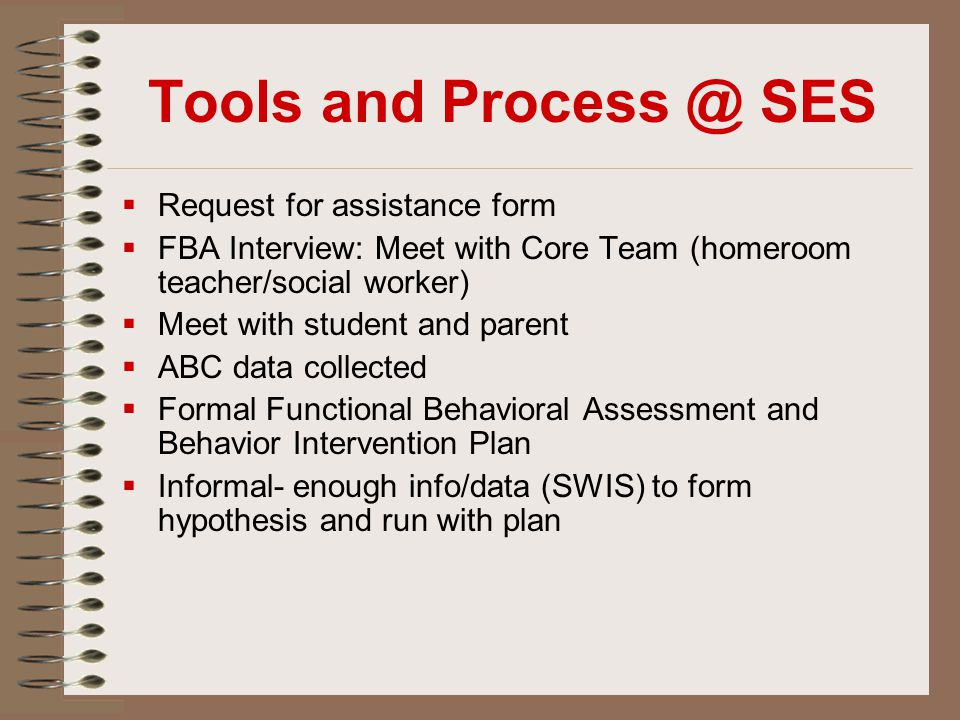 Tools and Process @ SES  Request for assistance form  FBA Interview: Meet with Core Team (homeroom teacher/social worker)  Meet with student and pa