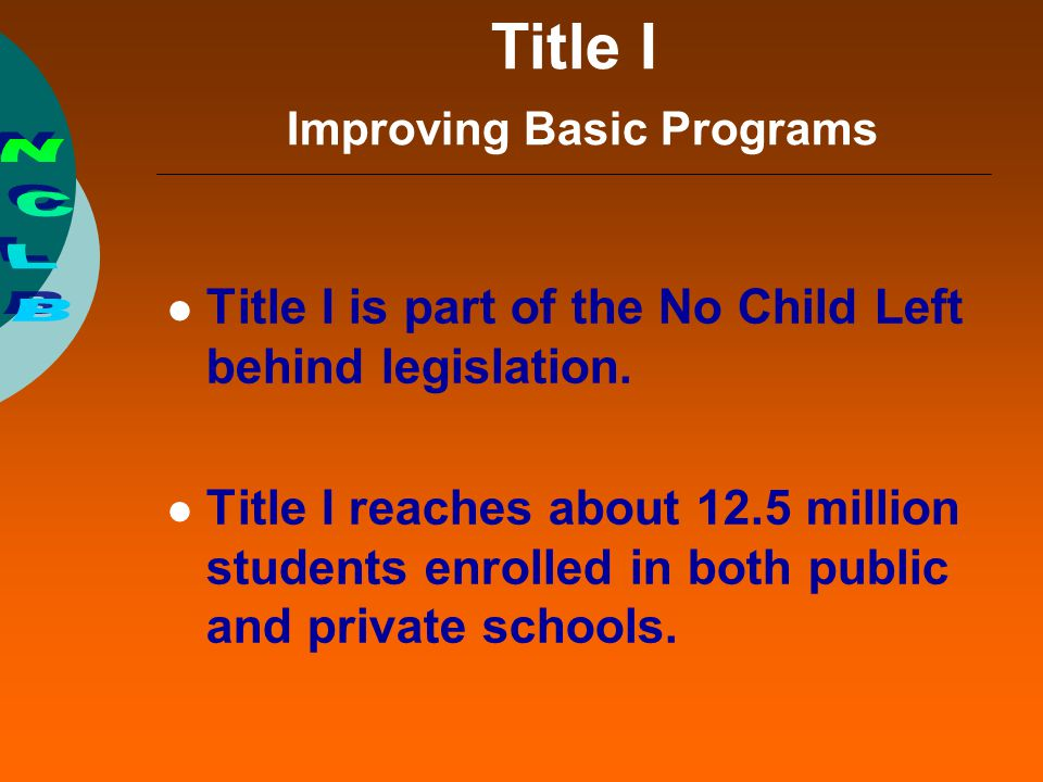 Specific Title I Requirements Coordinate Title I services with the regular instructional program, including assisting transition from preschool programs.