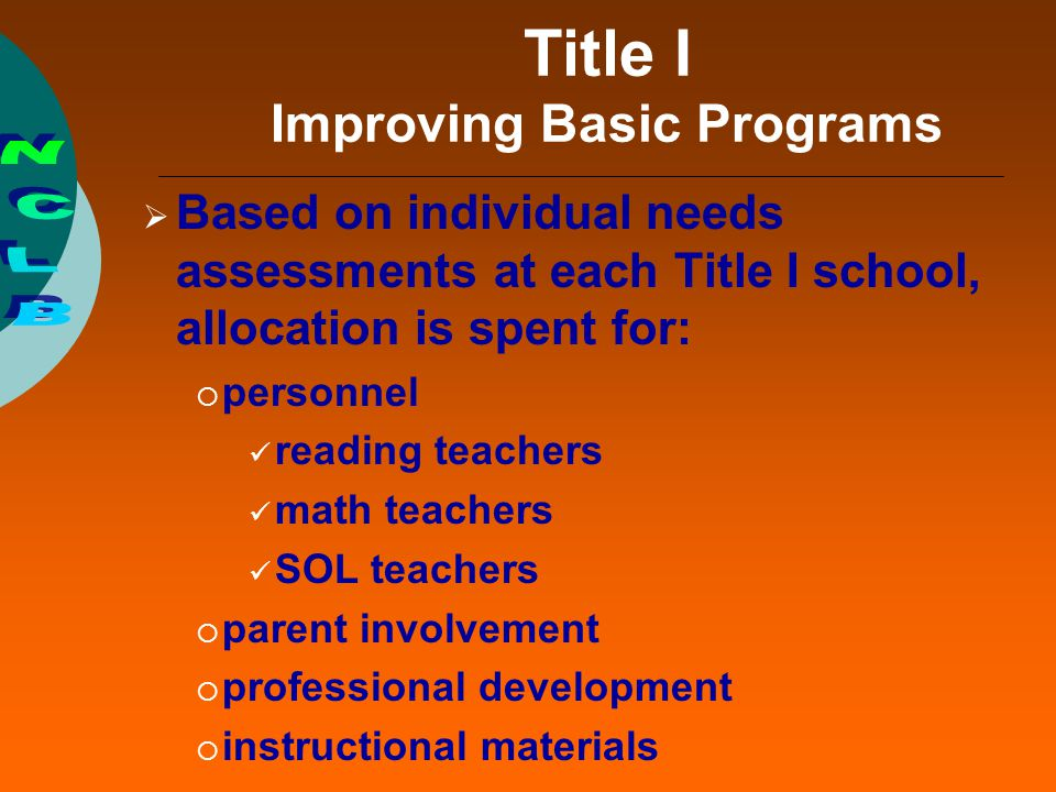 Title I Improving Basic Programs  Based on individual needs assessments at each Title I school, allocation is spent for:  personnel reading teachers