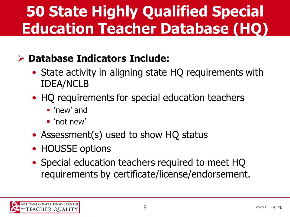 www.ncctq.org 9 50 State Highly Qualified Special Education Teacher Database (HQ)  Database Indicators Include: State activity in aligning state HQ requirements with IDEA/NCLB HQ requirements for special education teachers  'new' and  'not new' Assessment(s) used to show HQ status HOUSSE options Special education teachers required to meet HQ requirements by certificate/license/endorsement.