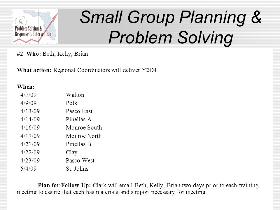 Small Group Planning & Problem Solving #2 Who: Beth, Kelly, Brian What action: Regional Coordinators will deliver Y2D4 When: 4/7/09Walton 4/9/09Polk 4/13/09Pasco East 4/14/09Pinellas A 4/16/09Monroe South 4/17/09Monroe North 4/21/09Pinellas B 4/22/09Clay 4/23/09Pasco West 5/4/09St.
