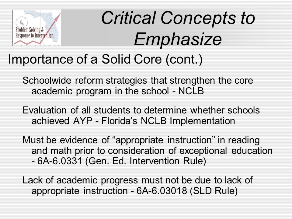 Critical Concepts to Emphasize Importance of Fidelity Must have evidence that interventions are delivered with fidelity and level of implementation is documented- FSRtIP 90 minutes of dedicated, uninterrupted reading instruction- K12RP Schools assembles team to monitor fidelity of RtI implementation - Diff.
