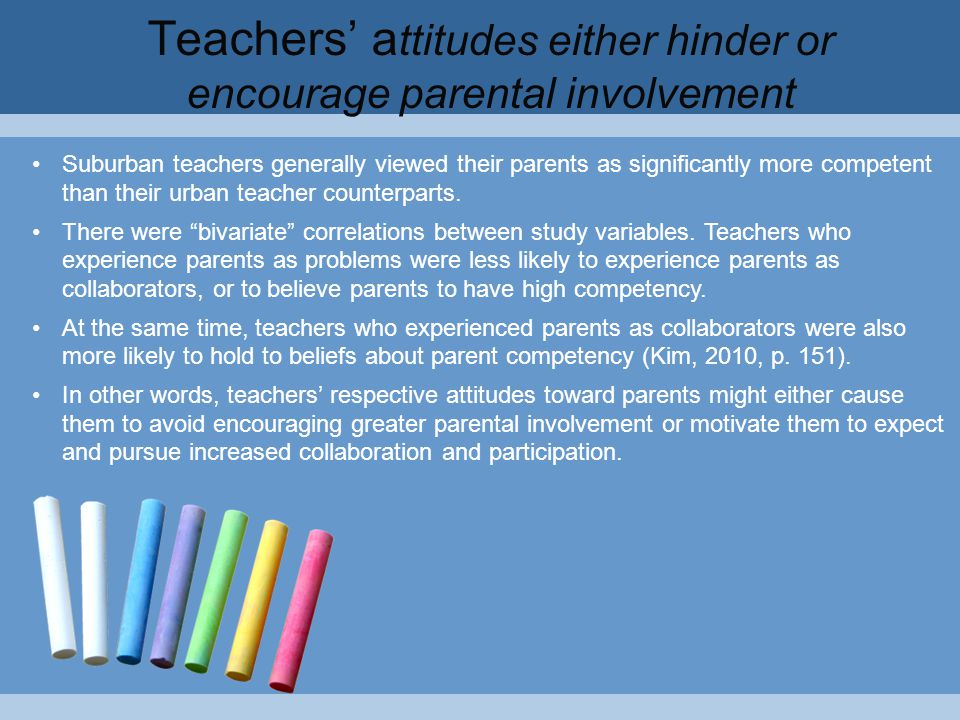 Teachers' a ttitudes either hinder or encourage parental involvement Suburban teachers generally viewed their parents as significantly more competent than their urban teacher counterparts.