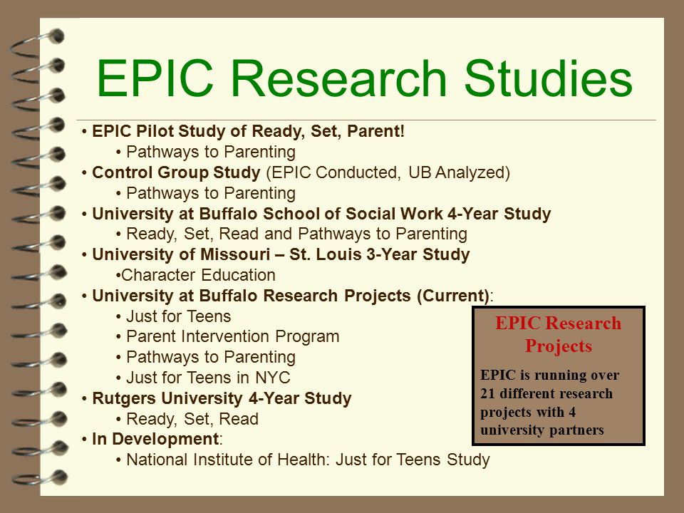 EPIC Research Studies EPIC Pilot Study of Ready, Set, Parent.