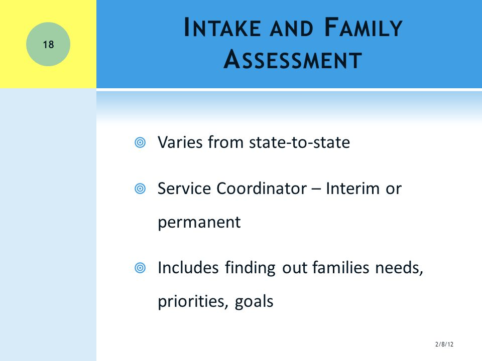 I NTAKE AND F AMILY A SSESSMENT  Varies from state-to-state  Service Coordinator – Interim or permanent  Includes finding out families needs, priorities, goals 18 2/8/12