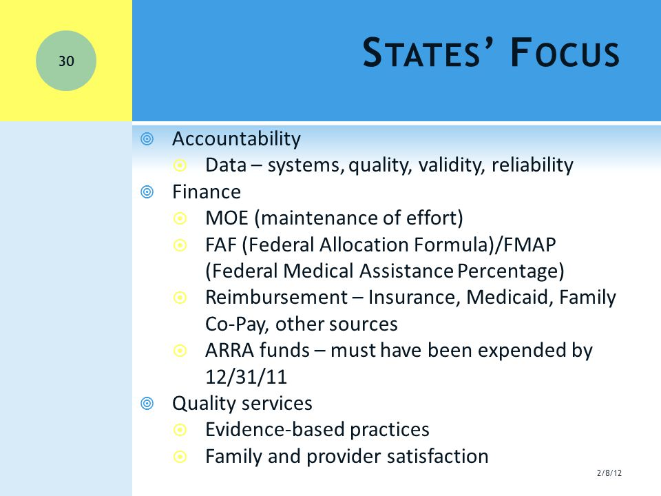  Accountability  Data – systems, quality, validity, reliability  Finance  MOE (maintenance of effort)  FAF (Federal Allocation Formula)/FMAP (Federal Medical Assistance Percentage)  Reimbursement – Insurance, Medicaid, Family Co-Pay, other sources  ARRA funds – must have been expended by 12/31/11  Quality services  Evidence-based practices  Family and provider satisfaction S TATES ' F OCUS 2/8/12 30