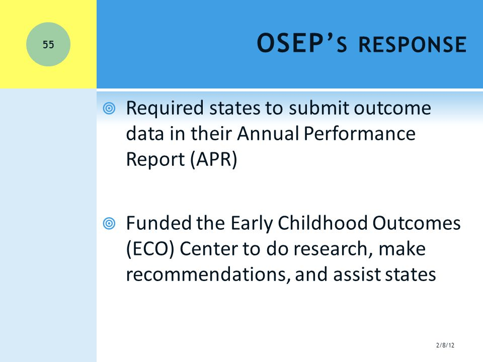 OSEP' S RESPONSE  Required states to submit outcome data in their Annual Performance Report (APR)  Funded the Early Childhood Outcomes (ECO) Center to do research, make recommendations, and assist states 2/8/12 55