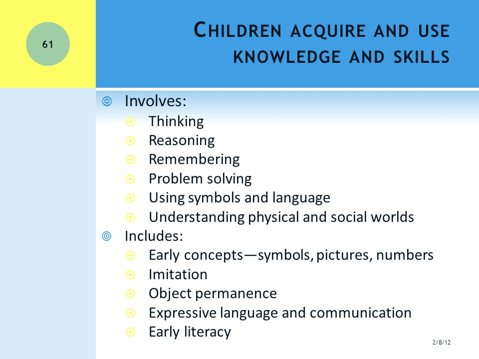 C HILDREN ACQUIRE AND USE KNOWLEDGE AND SKILLS  Involves:  Thinking  Reasoning  Remembering  Problem solving  Using symbols and language  Understanding physical and social worlds  Includes:  Early concepts—symbols, pictures, numbers  Imitation  Object permanence  Expressive language and communication  Early literacy 2/8/12 61