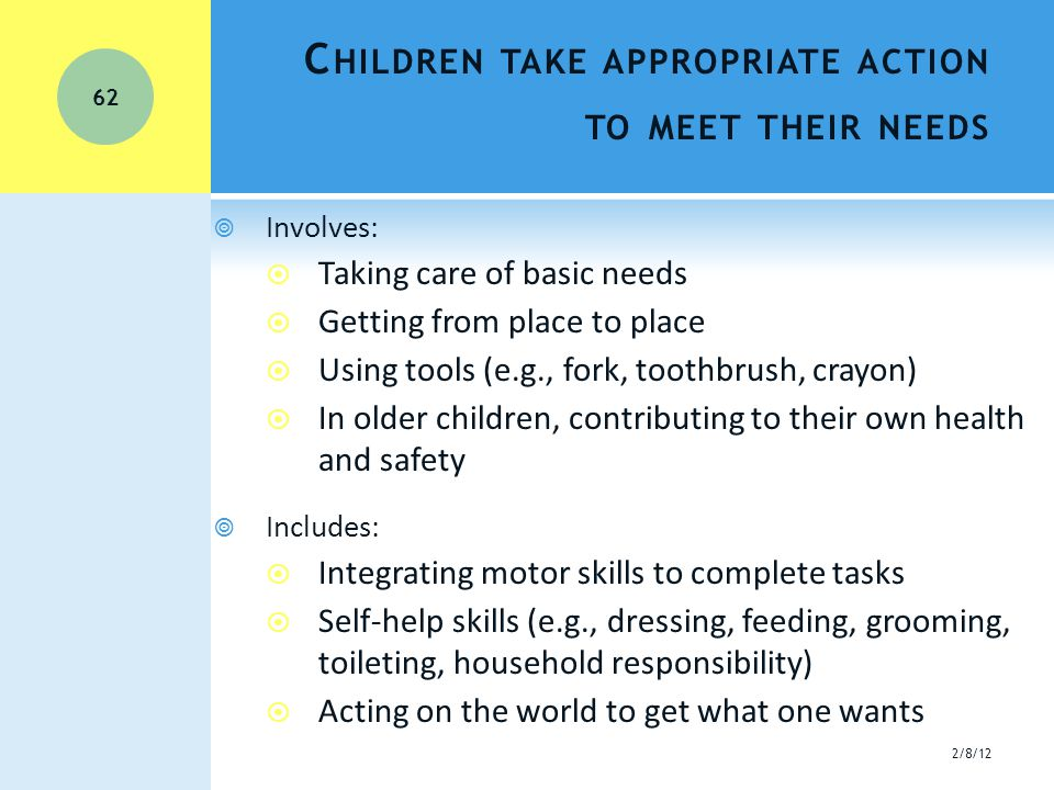 C HILDREN TAKE APPROPRIATE ACTION TO MEET THEIR NEEDS  Involves:  Taking care of basic needs  Getting from place to place  Using tools (e.g., fork, toothbrush, crayon)  In older children, contributing to their own health and safety  Includes:  Integrating motor skills to complete tasks  Self-help skills (e.g., dressing, feeding, grooming, toileting, household responsibility)  Acting on the world to get what one wants 2/8/12 62