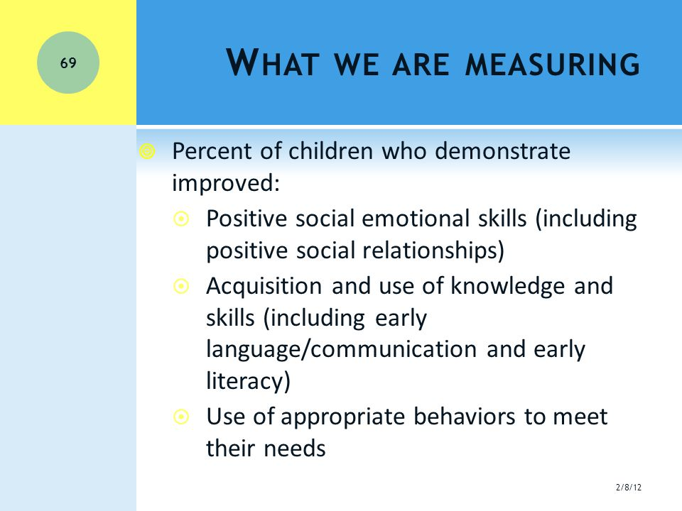 W HAT WE ARE MEASURING  Percent of children who demonstrate improved:  Positive social emotional skills (including positive social relationships)  Acquisition and use of knowledge and skills (including early language/communication and early literacy)  Use of appropriate behaviors to meet their needs 2/8/12 69