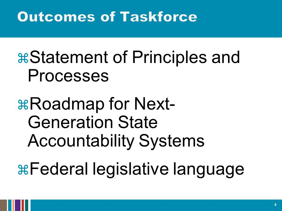  Statement of Principles and Processes  Roadmap for Next- Generation State Accountability Systems  Federal legislative language 4