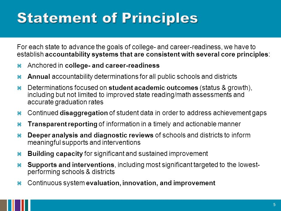 For each state to advance the goals of college- and career-readiness, we have to establish accountability systems that are consistent with several core principles:  Anchored in college- and career-readiness  Annual accountability determinations for all public schools and districts  Determinations focused on student academic outcomes (status & growth), including but not limited to improved state reading/math assessments and accurate graduation rates  Continued disaggregation of student data in order to address achievement gaps  Transparent reporting of information in a timely and actionable manner  Deeper analysis and diagnostic reviews of schools and districts to inform meaningful supports and interventions  Building capacity for significant and sustained improvement  Supports and interventions, including most significant targeted to the lowest- performing schools & districts  Continuous system evaluation, innovation, and improvement 5