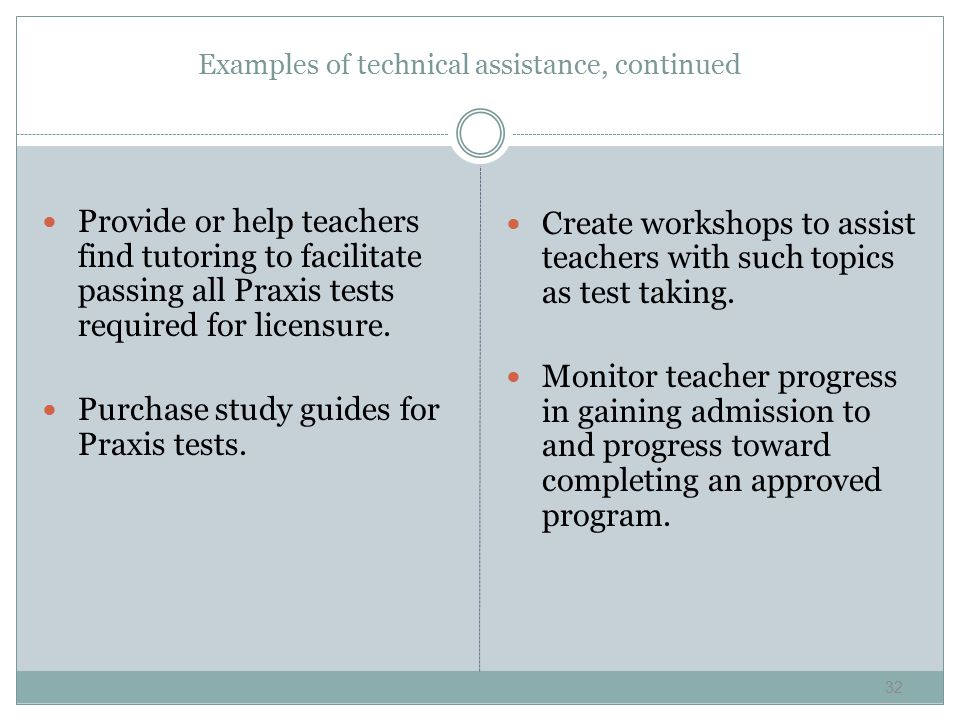Examples of technical assistance, continued Provide or help teachers find tutoring to facilitate passing all Praxis tests required for licensure.
