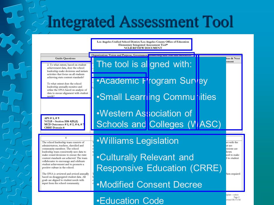 Integrated Assessment Tool Standards-based Student learning: Curriculum and Instruction Standards-based Student Learning: Assessment and Accountability School Culture and Support for Student Personal and Academic Growth The tool is aligned with: Academic Program Survey Small Learning Communities Western Association of Schools and Colleges (WASC) Williams Legislation Culturally Relevant and Responsive Education (CRRE) Modified Consent Decree Education Code