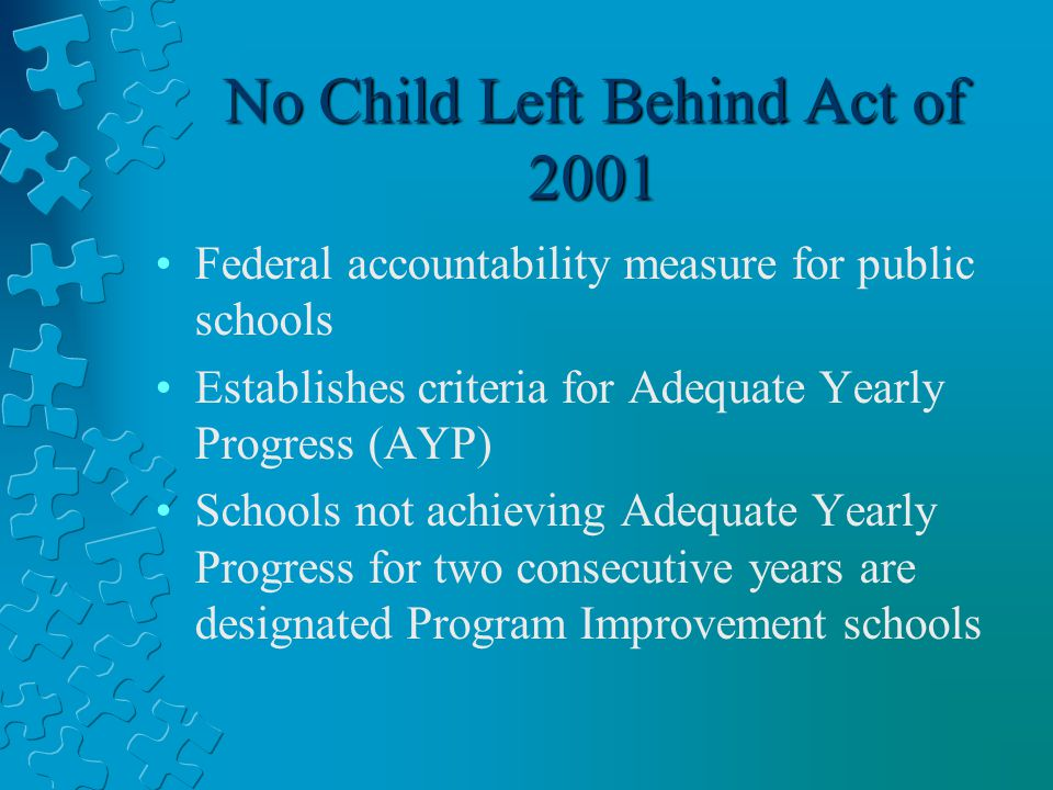 No Child Left Behind Act of 2001 Federal accountability measure for public schools Establishes criteria for Adequate Yearly Progress (AYP) Schools not achieving Adequate Yearly Progress for two consecutive years are designated Program Improvement schools