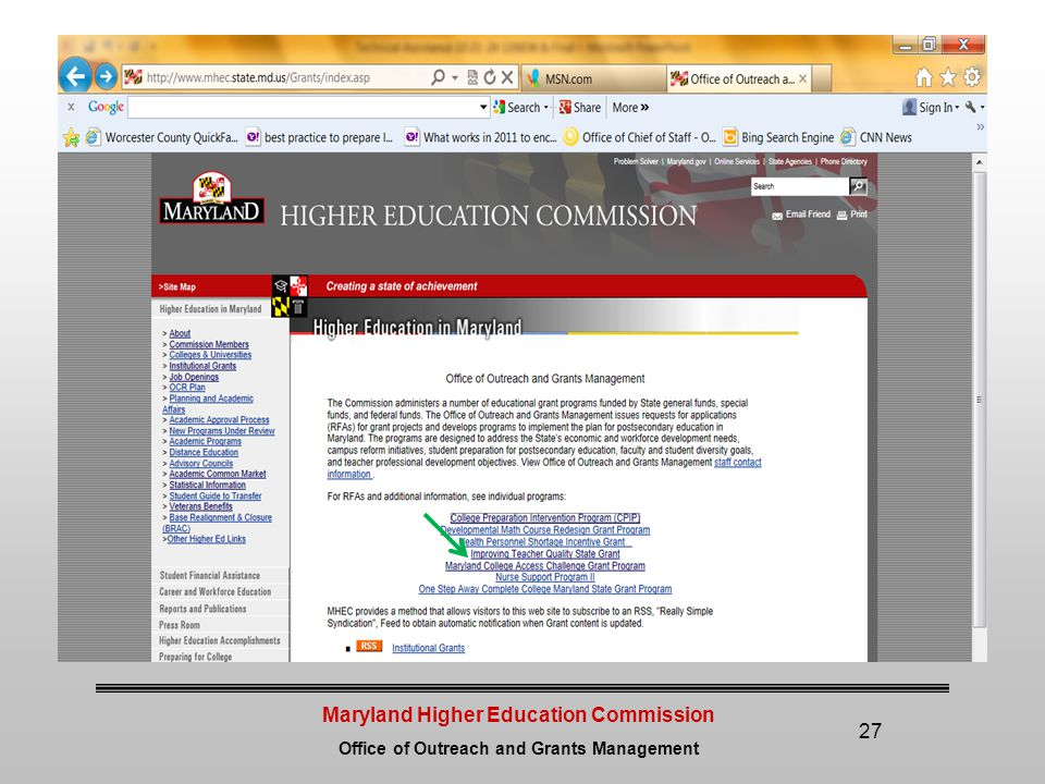 Maryland Higher Education Commission Office of Outreach and Grants Management 27