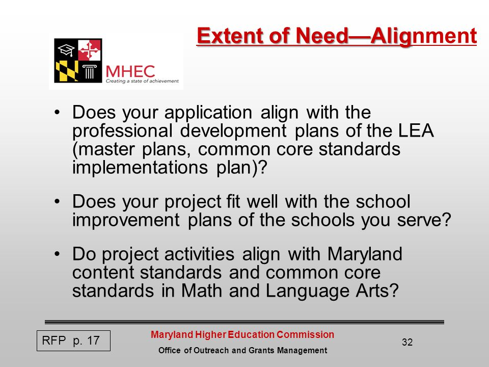 Maryland Higher Education Commission Office of Outreach and Grants Management 32 Extent of Need—Alig Extent of Need—Alignment Does your application align with the professional development plans of the LEA (master plans, common core standards implementations plan).