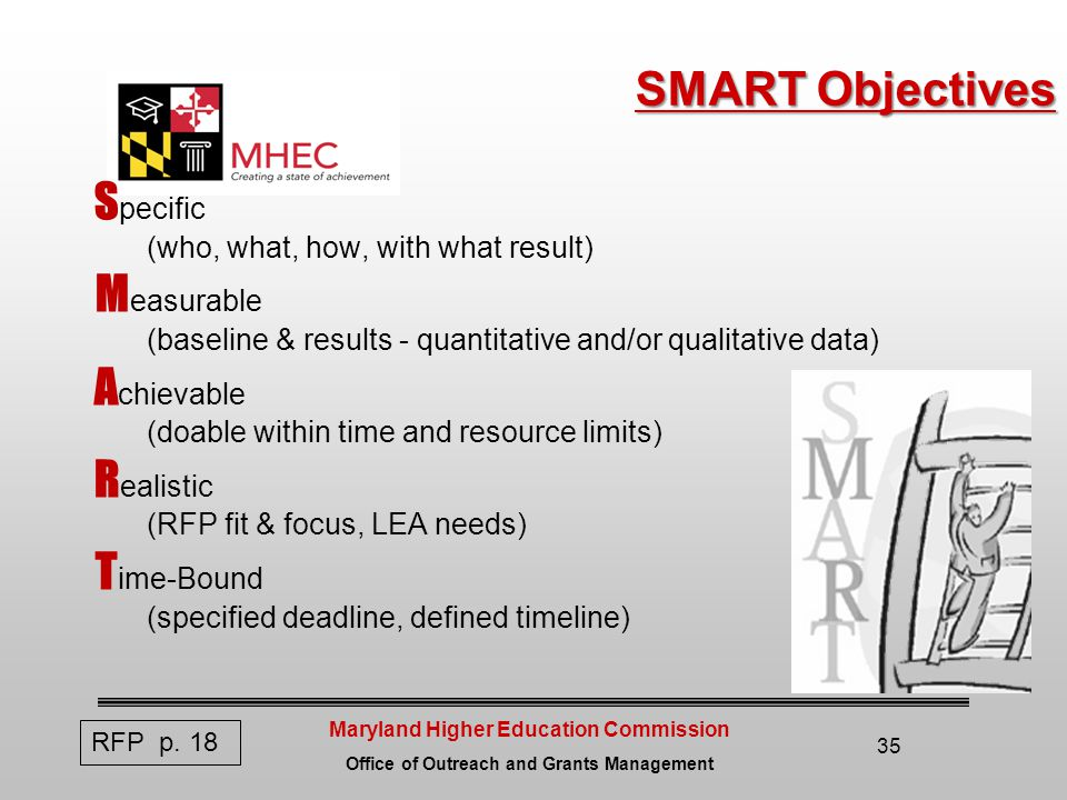 Maryland Higher Education Commission Office of Outreach and Grants Management SMART Objectives S pecific (who, what, how, with what result) M easurable (baseline & results - quantitative and/or qualitative data) A chievable (doable within time and resource limits) R ealistic (RFP fit & focus, LEA needs) T ime-Bound (specified deadline, defined timeline) 35 RFP p.