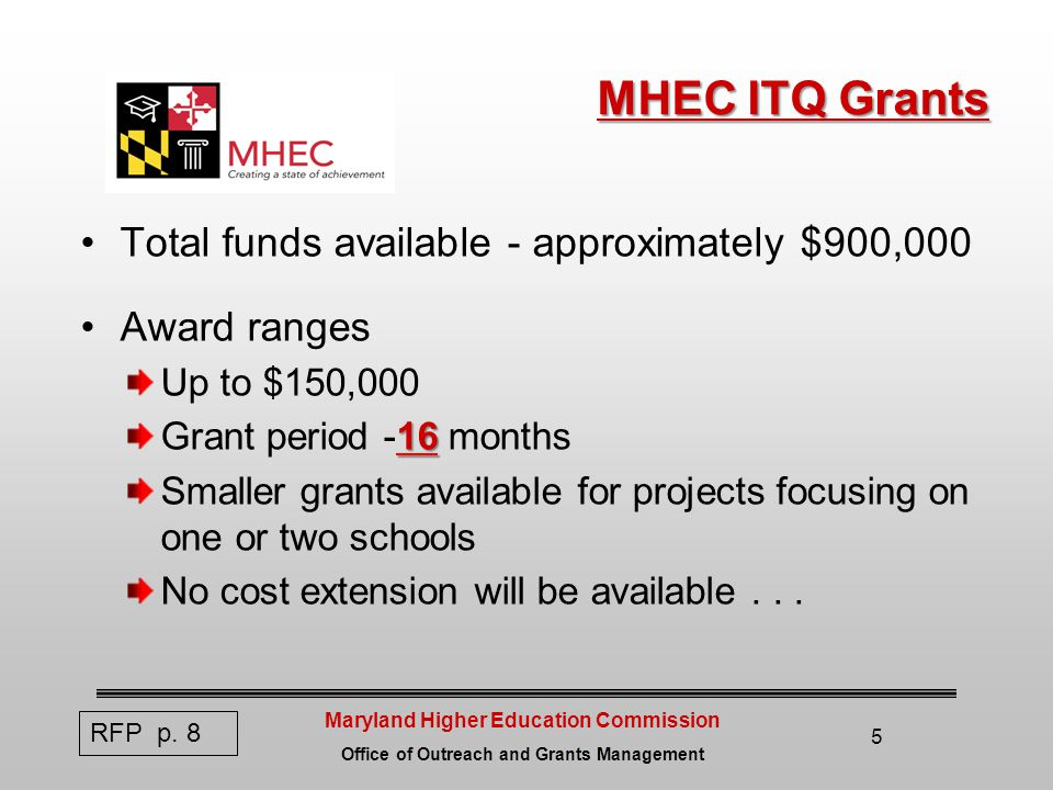 Maryland Higher Education Commission Office of Outreach and Grants Management 5 MHEC ITQ Grants Total funds available - approximately $900,000 Award ranges Up to $150,000 16 Grant period -16 months Smaller grants available for projects focusing on one or two schools No cost extension will be available...
