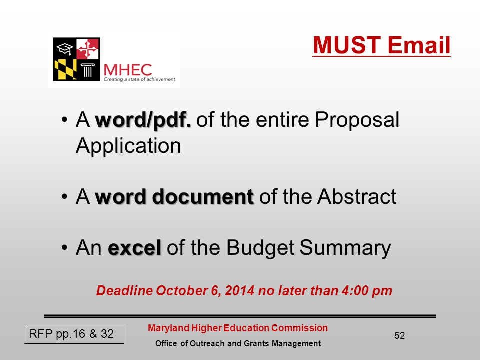 Maryland Higher Education Commission Office of Outreach and Grants Management MUST Email 52 word/pdf.A word/pdf.