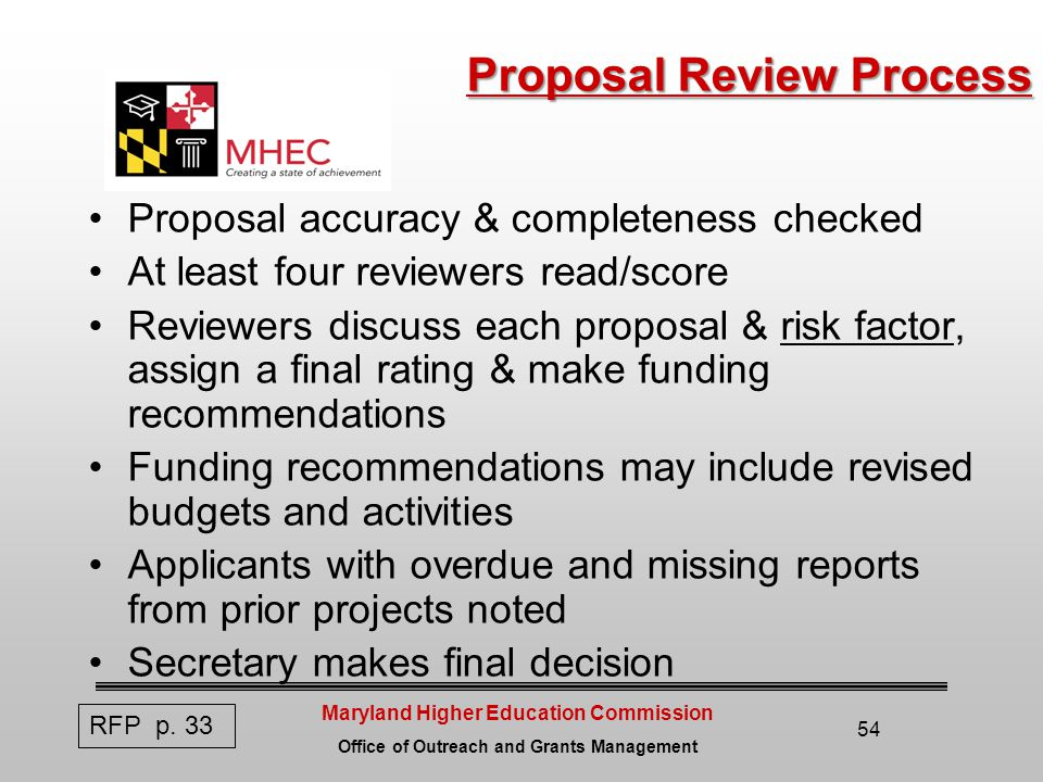 Maryland Higher Education Commission Office of Outreach and Grants Management 54 Proposal Review Process Proposal accuracy & completeness checked At least four reviewers read/score Reviewers discuss each proposal & risk factor, assign a final rating & make funding recommendations Funding recommendations may include revised budgets and activities Applicants with overdue and missing reports from prior projects noted Secretary makes final decision RFP p.