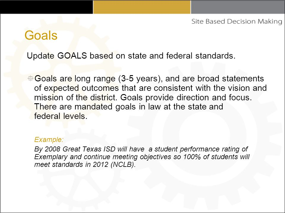 Update GOALS based on state and federal standards.