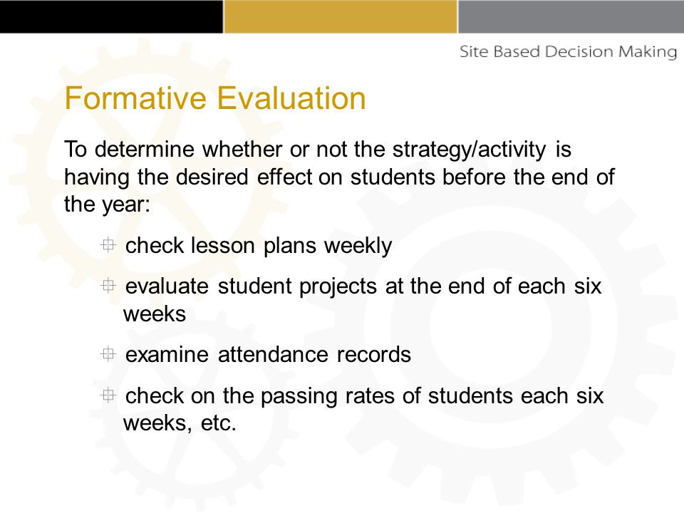 To determine whether or not the strategy/activity is having the desired effect on students before the end of the year:  check lesson plans weekly  evaluate student projects at the end of each six weeks  examine attendance records  check on the passing rates of students each six weeks, etc.