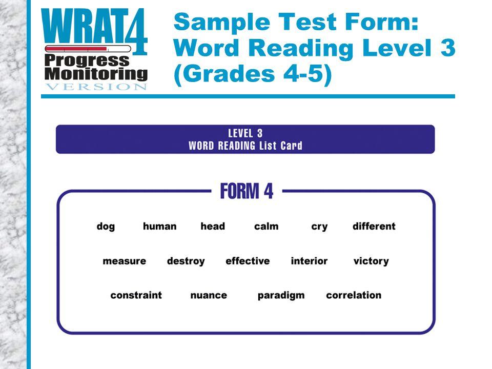 Sample Test Form: Word Reading Level 3 (Grades 4-5)