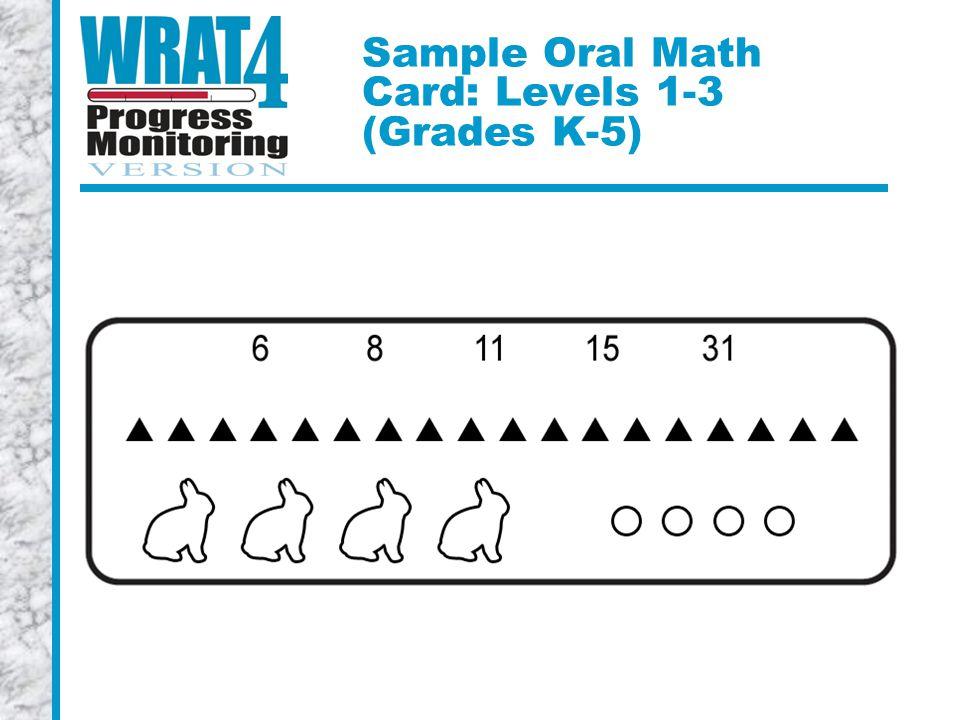 Sample Oral Math Card: Levels 1-3 (Grades K-5)