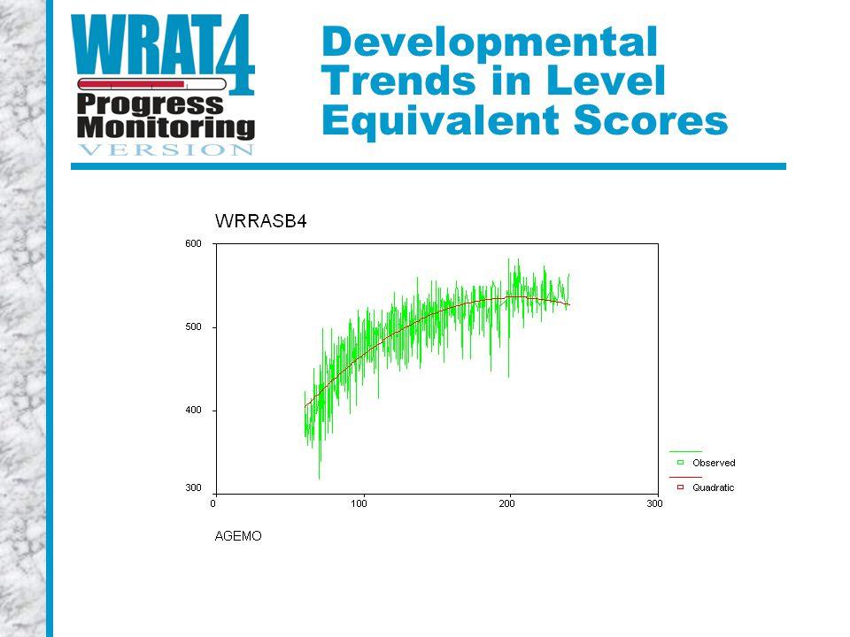 Developmental Trends in Level Equivalent Scores