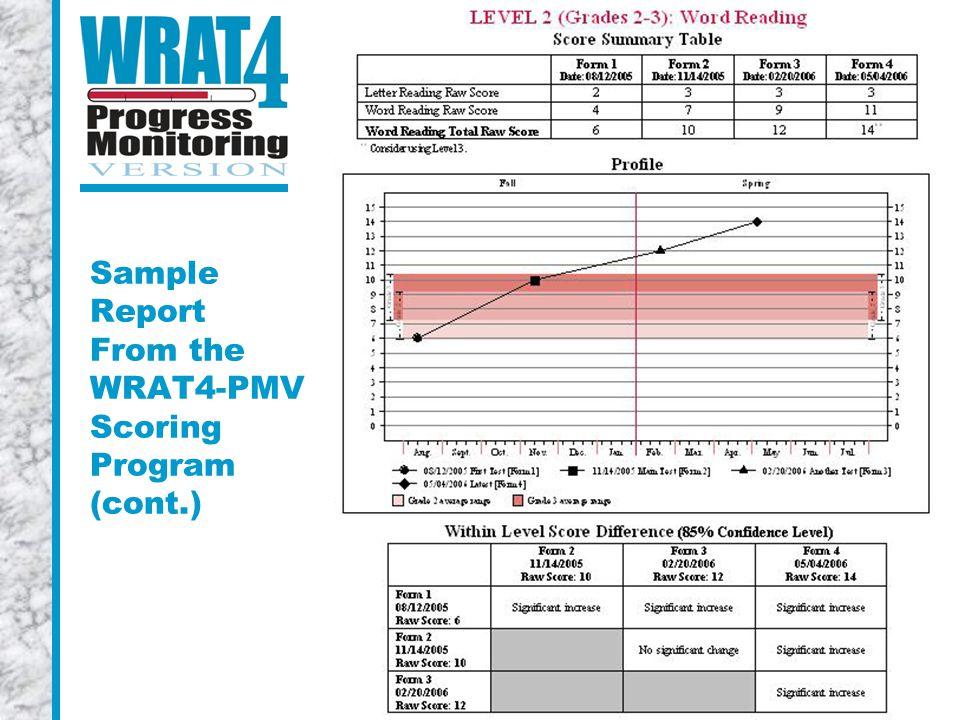 Sample Report From the WRAT4-PMV Scoring Program (cont.)