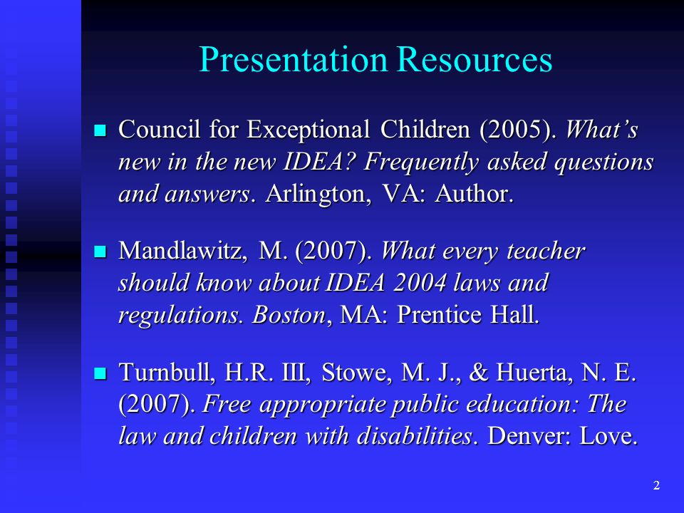 33 IEPs in Effect n If a child transfers to a school in another state, that new LEA must provide FAPE w/ services comparable to what was in the IEP, until previous IEP is adopted or a new one is written & implemented n When a child transfers, the receiving school must take reasonable steps to promptly obtain records, Including IEP & other documents, & sending school must reasonable steps to respond promptly to this request.