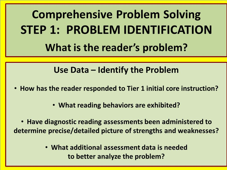 Comprehensive Problem Solving STEP 1: PROBLEM IDENTIFICATION What is the reader's problem.