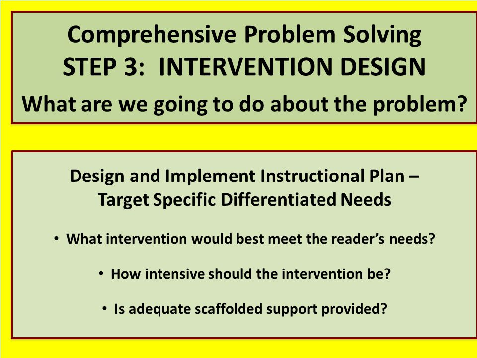 Design and Implement Instructional Plan – Target Specific Differentiated Needs What intervention would best meet the reader's needs.