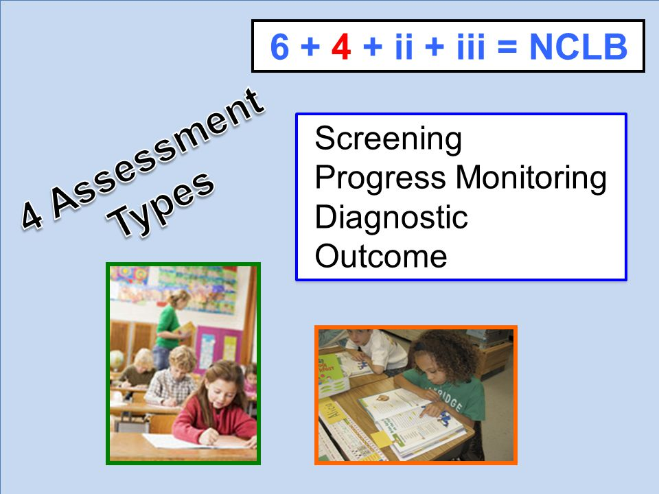 Screening Progress Monitoring Diagnostic Outcome 6 + 4 + ii + iii = NCLB
