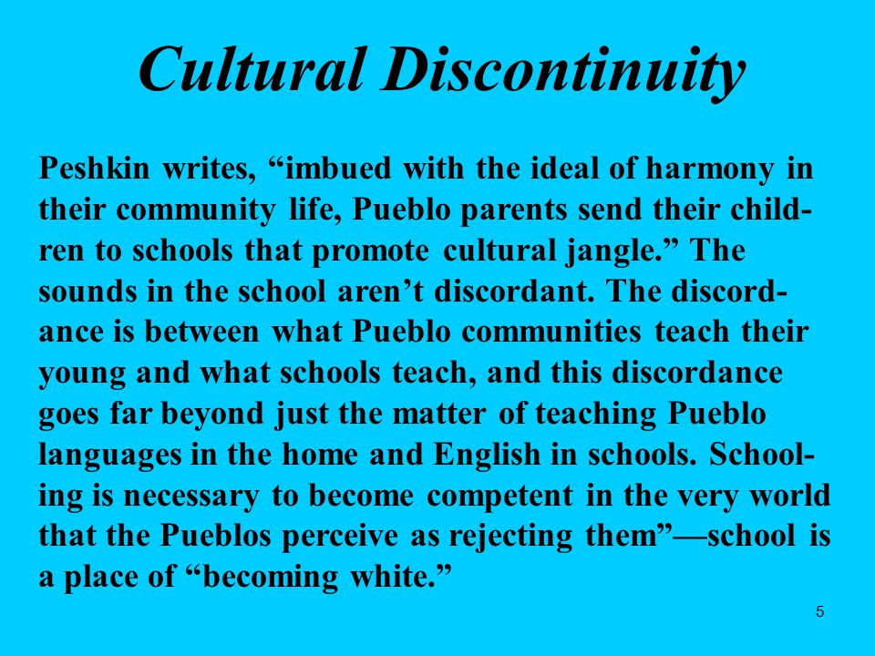 46 Recommendations for Educators John Ogbu Minority students are not just culturally different; they may have 'oppositional identities' Study the history of your students' ethnic groups Provide special counseling to separate school success from 'acting white' Facilitate 'accommodation without assimilation' Society needs to provide more job opportunities for minority youth