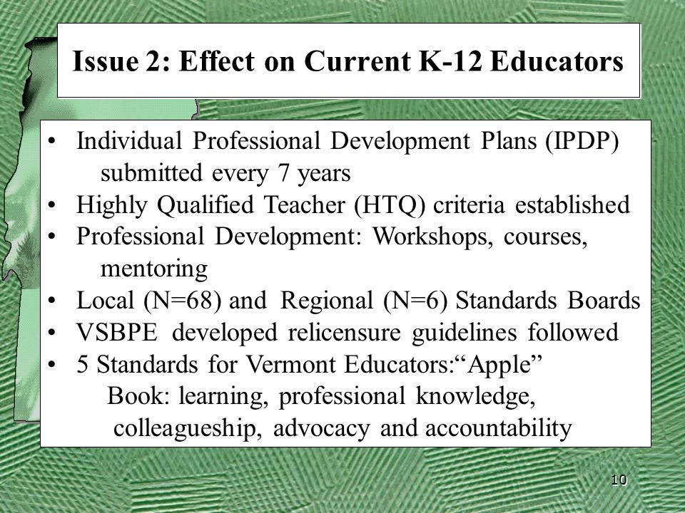 10 Issue 2: Effect on Current K-12 Educators Individual Professional Development Plans (IPDP) submitted every 7 years Highly Qualified Teacher (HTQ) criteria established Professional Development: Workshops, courses, mentoring Local (N=68) and Regional (N=6) Standards Boards VSBPE developed relicensure guidelines followed 5 Standards for Vermont Educators: Apple Book: learning, professional knowledge, colleagueship, advocacy and accountability