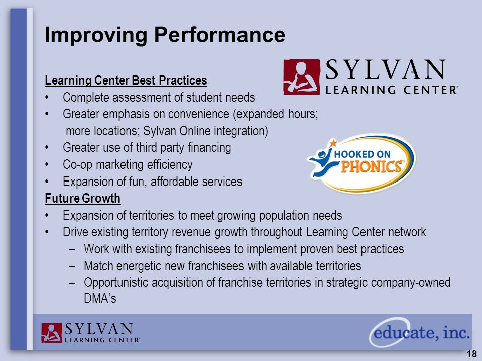 18 Improving Performance Learning Center Best Practices Complete assessment of student needs Greater emphasis on convenience (expanded hours; more locations; Sylvan Online integration) Greater use of third party financing Co-op marketing efficiency Expansion of fun, affordable services Future Growth Expansion of territories to meet growing population needs Drive existing territory revenue growth throughout Learning Center network –Work with existing franchisees to implement proven best practices –Match energetic new franchisees with available territories –Opportunistic acquisition of franchise territories in strategic company-owned DMA's