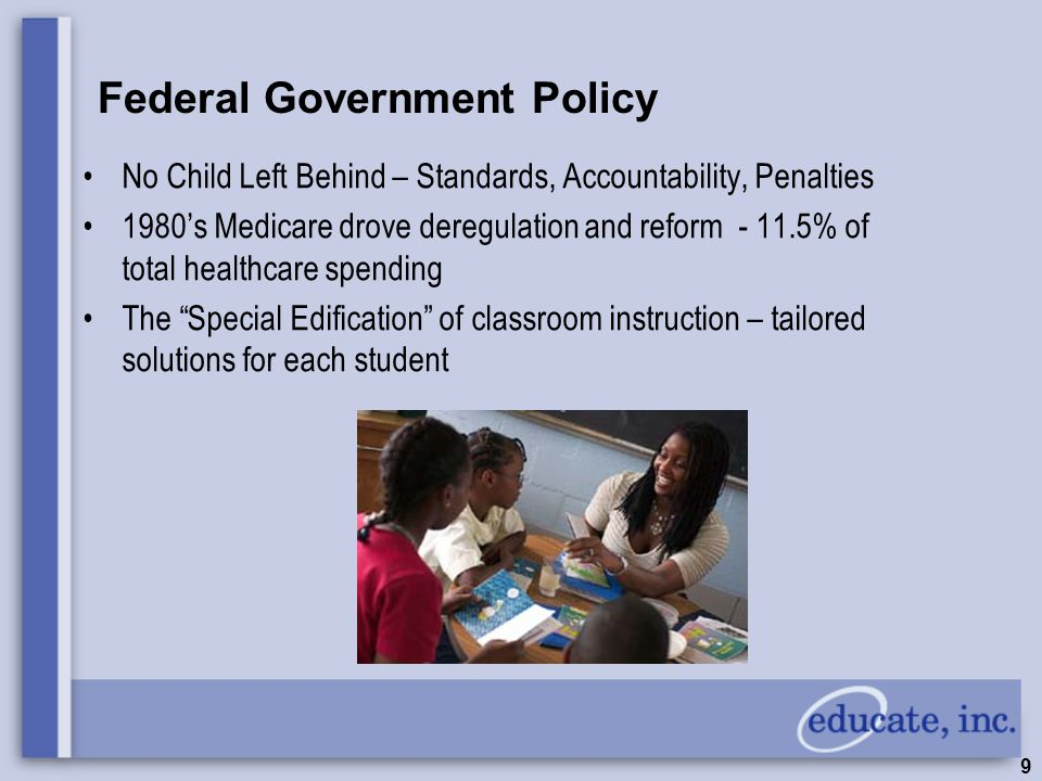 9 Federal Government Policy No Child Left Behind – Standards, Accountability, Penalties 1980's Medicare drove deregulation and reform - 11.5% of total healthcare spending The Special Edification of classroom instruction – tailored solutions for each student