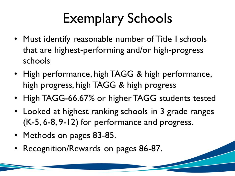 Exemplary Schools Must identify reasonable number of Title I schools that are highest-performing and/or high-progress schools High performance, high TAGG & high performance, high progress, high TAGG & high progress High TAGG-66.67% or higher TAGG students tested Looked at highest ranking schools in 3 grade ranges (K-5, 6-8, 9-12) for performance and progress.