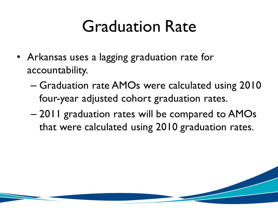 Graduation Rate Arkansas uses a lagging graduation rate for accountability.