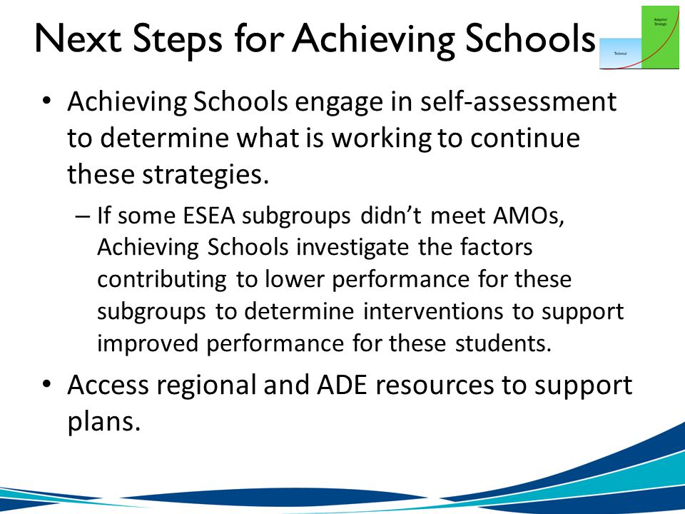 Next Steps for Achieving Schools Achieving Schools engage in self-assessment to determine what is working to continue these strategies.