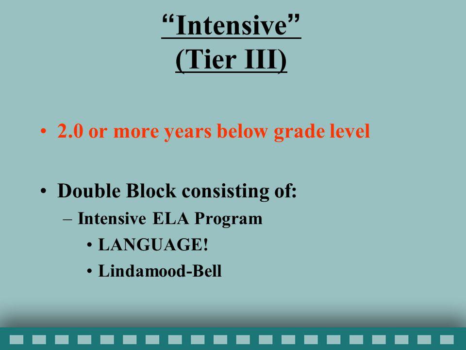 Intensive (Tier III) 2.0 or more years below grade level Double Block consisting of: –Intensive ELA Program LANGUAGE.